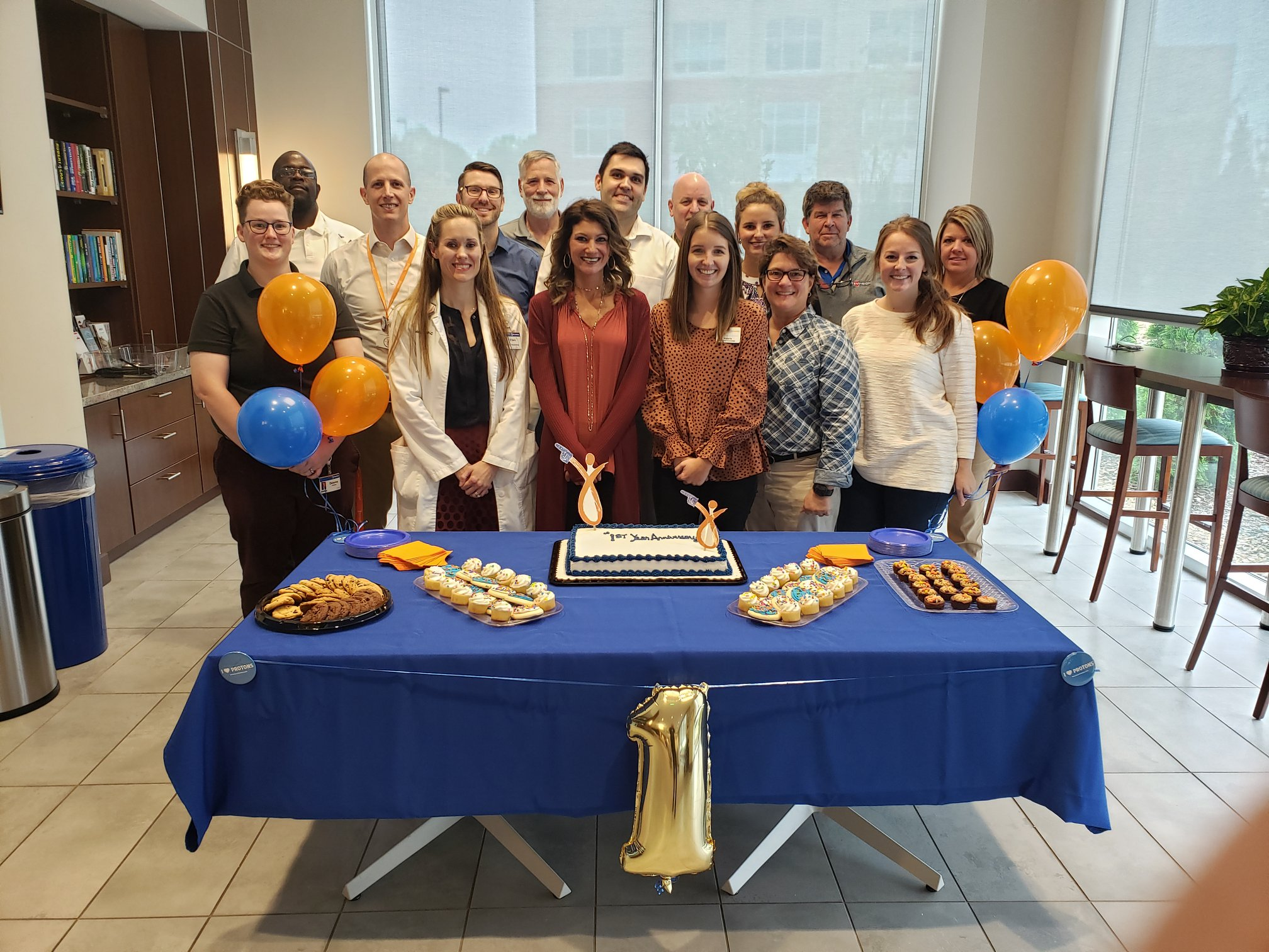 Staff members at Provision CARES Proton Therapy Nashville celebrate the center's 1st anniversary