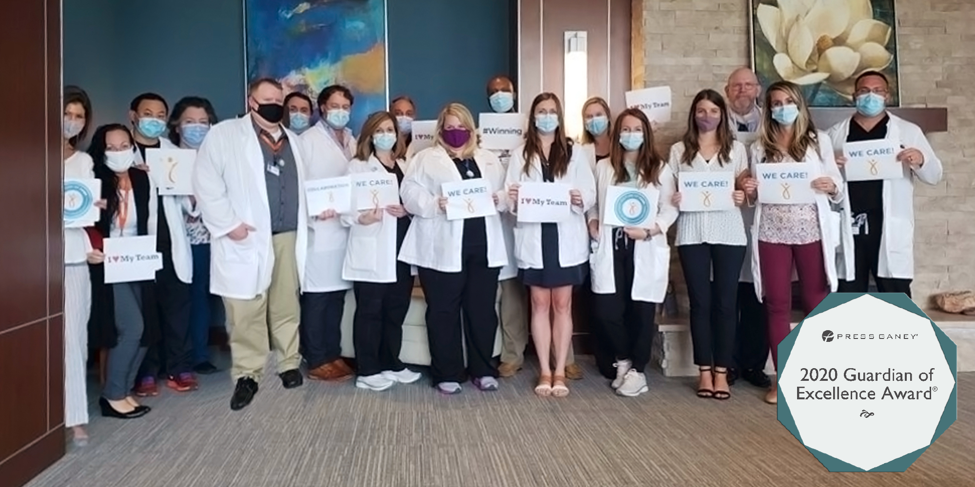 Staff at Provision CARES Proton Therapy Nashville celebrate the Guardian of Excellence award