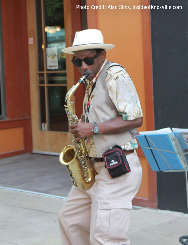 James plays his sax on Market Square in downtown Knoxville, Tenn. (Photo Credit: Alan Sims, InsideofKnoxville.com)