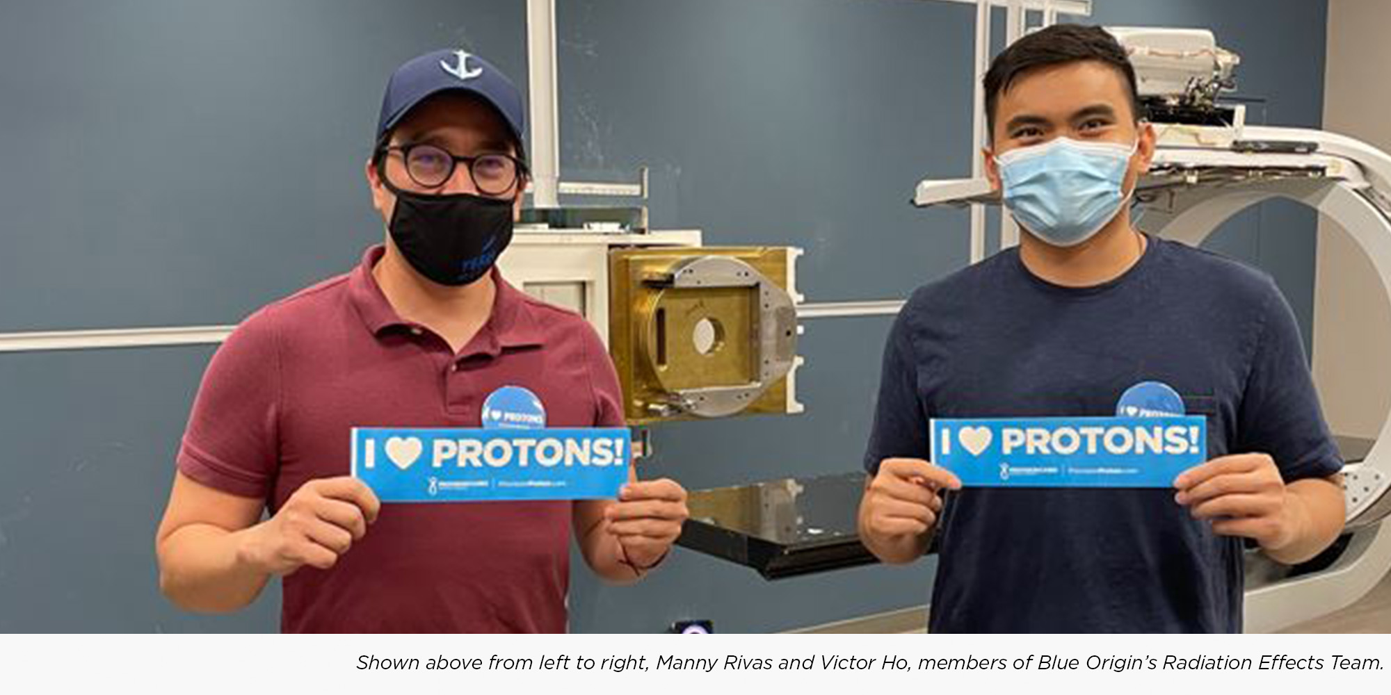 Members of Blue Origin's Radiation Effects Team pose while testing space travel equpiment at Provision CARES Proton Therapy Knoxville